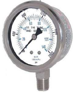 "Kodiak Stainless Steel Liquid Filled Pressure Gauges - 2 1/2"" Dial"