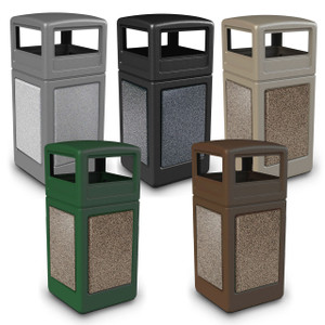 Commercial Zone 42 Gal StoneTec Panel Square Waste Container w/ Dome Lid