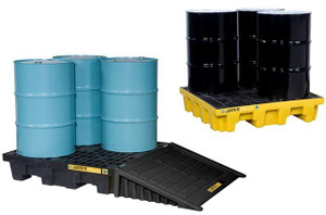 Justrite EcoPolyBlend 4 Drum Square Spill Control Pallets