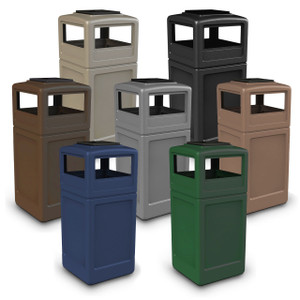 Commercial Zone 42 Gal Square Waste Containers with Ashtray Dome Lid