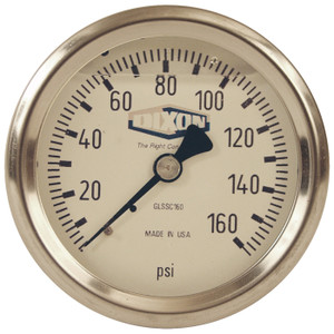 Dixon 2 1/2 in. Face 1/4 in. Back Mount All Stainless Liquid Filled Gauges