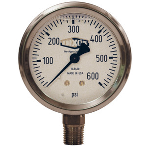 Dixon 2 1/2 in. Dial 1/4 in. Lower Mount Liquid Filled Stainless Case Gauges