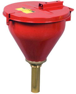 Justrite Safety Drum Funnel w/ Self-Closing Cover & Flame Arrester