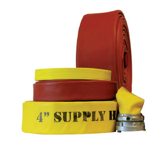 Superior Fire Hose 600# Superior Super Flow 3 in. Rubber Fire Hose w/ Aluminum NH (NST) Rocker Lug Couplings