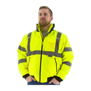 Majestic HI-VIS ANSI 3 Lime Transformer 8 in 1 Bomber Jacket