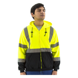 Majestic HI VIS ANSI Class 3 Yellow Zipper Front Sweatshirt with Hood