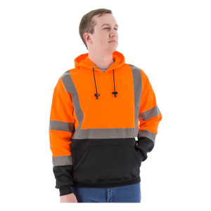 Majestic HI-VIS ANSI 3 Orange Hooded Pullover Sweatshirt