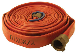 Dixon Powhatan 1 1/2 in. 500# Coupled Nitrile Covered Fire Hose w/ NPSH Rocker Lug Aluminum Couplings