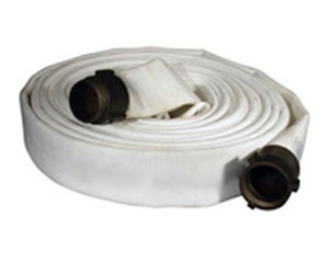 Key Fire Hose 500# Single Jacket 1 1/2 in. Fire Hoses w/ Aluminum NPSH Rocker Lug Couplings (White)