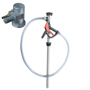 Flux Polypropylene Air Powered 55 Gal Drum Pump w/ Hose & Nozzle Kit - Chemicals