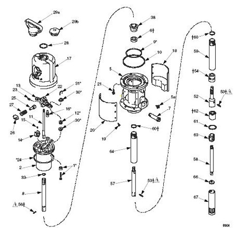 Air Motor Repair Kit Graco Mini Fire-Ball 225 50:1 Pump - 1,9,12,16,24,30,31