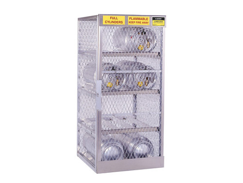 Aluminum LPG Cylinder Lockers Horizontal Storage - Eight 20 or 33 lb - 65 in. x 30 in. x 32 in. - 3