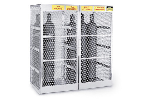 Aluminum Compressed Gas Lockers Vertical Storage - 20 Cylinders