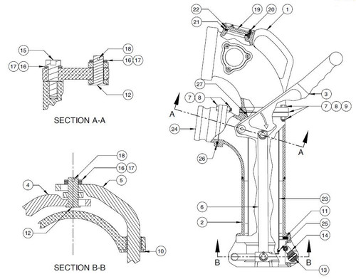 60TTCF Vapor Elbow Parts - Handle/Linkage Kit - 3, 4, 5, 12, 13, 15-18