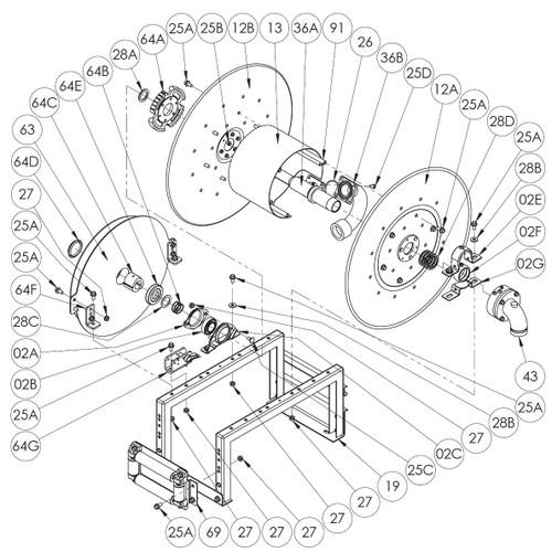 900 Series Spring Rewind Reel Parts - A Spring with Arbor - 63, 64C