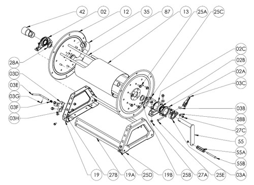 4000 Series Hand Crank Reel Parts - Cam Lock Brake Complete - 03