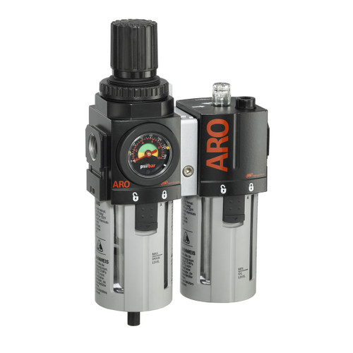 ARO 2000 Series 1/2 in. 3-Piece Combination Filter Regulator + Lubricator w/ Poly Bowl & Manual Drain