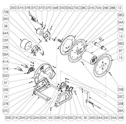 "1500 Series Power or Crank Rewind Reel Parts - 1/2"" Bearing Complete - 02A, 02B, 02C, 25A, 27A"