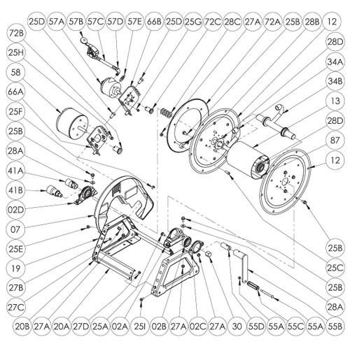 1500 Series Power or Crank Rewind Reel Parts - Electric Motor Sprocket - 72B