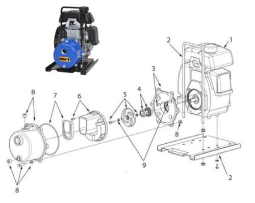 """AMT Impeller Repair Kit for 1"""" Dewatering Pump - Impeller Repair Kit - 5"""