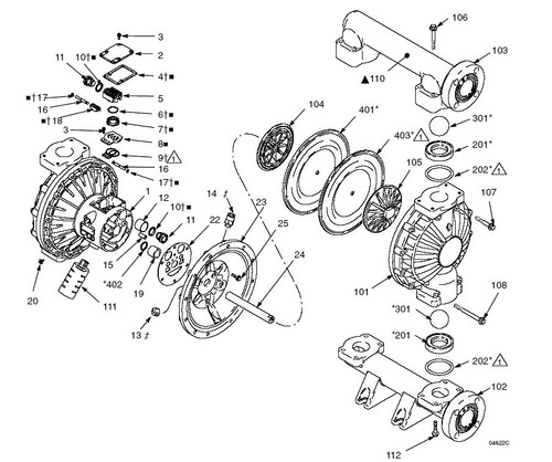 Graco Husky 1590 Plastic Diaphragm Pump Parts