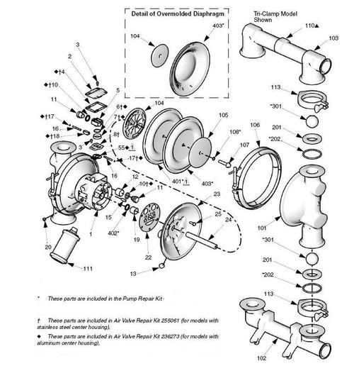 graco saniforce 2150 fda diaphragm pump parts