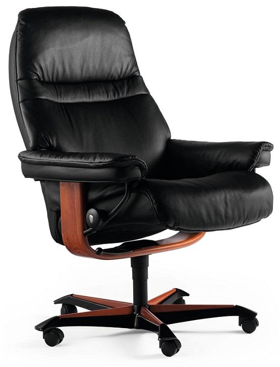 Sunrise Ekornes Office Chair- Black Paloma Leather