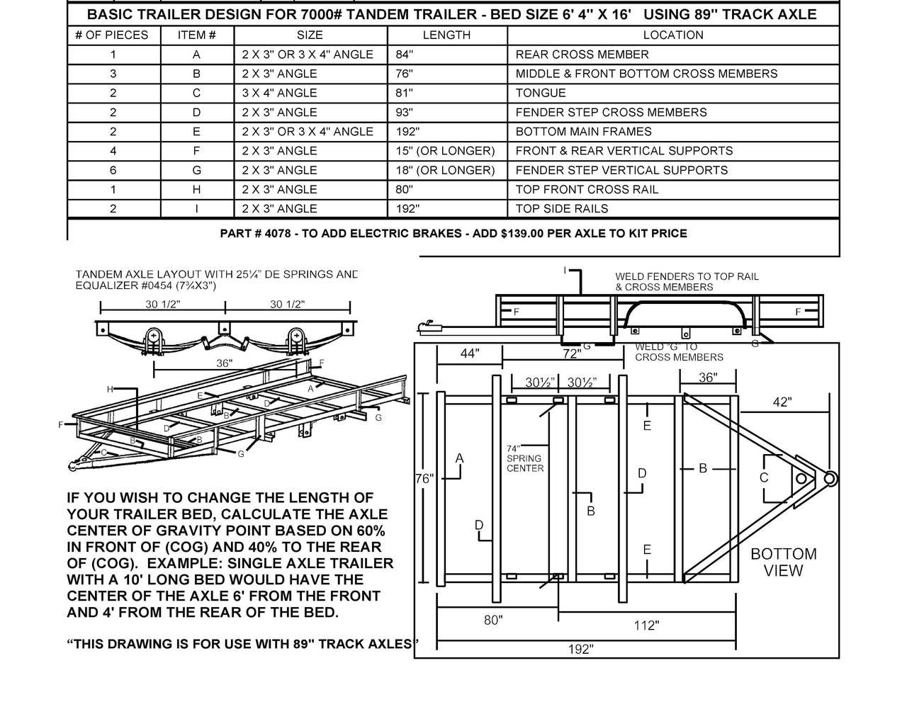 3500 tandem utility trailer parts kit build your own utility rh championtrailers com Dump Trailer Wiring Trailer Plug Schematic
