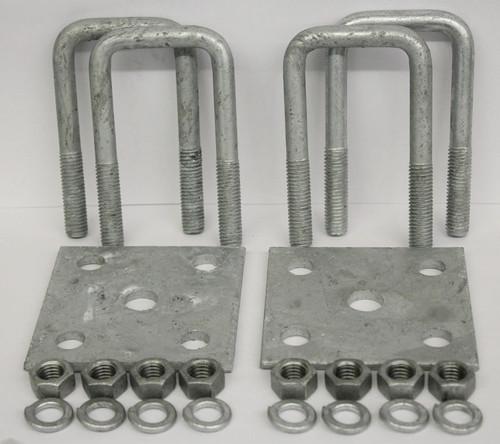"2x6"" Galvanized Square Axle U-Bolt Tie Plate Kit"