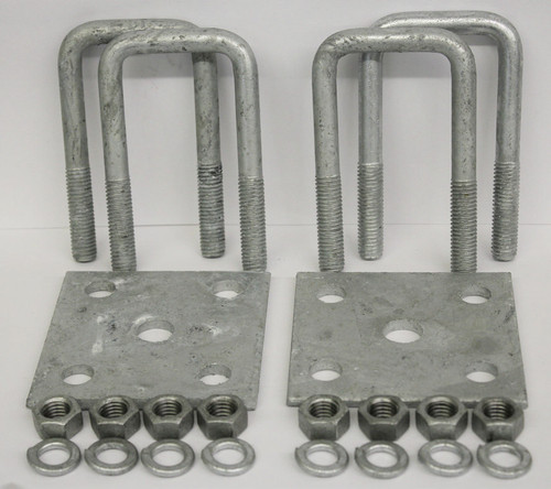 "2x4"" Galvanized Square Axle U-Bolt Tie Plate Kit"