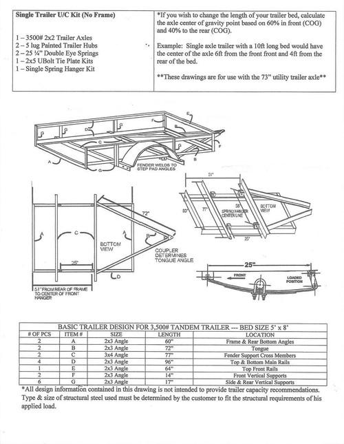 build your own trailer kit utility trailer kit for single & tandem trailer light connector diagram single axle undercarriage trailer kit diagram