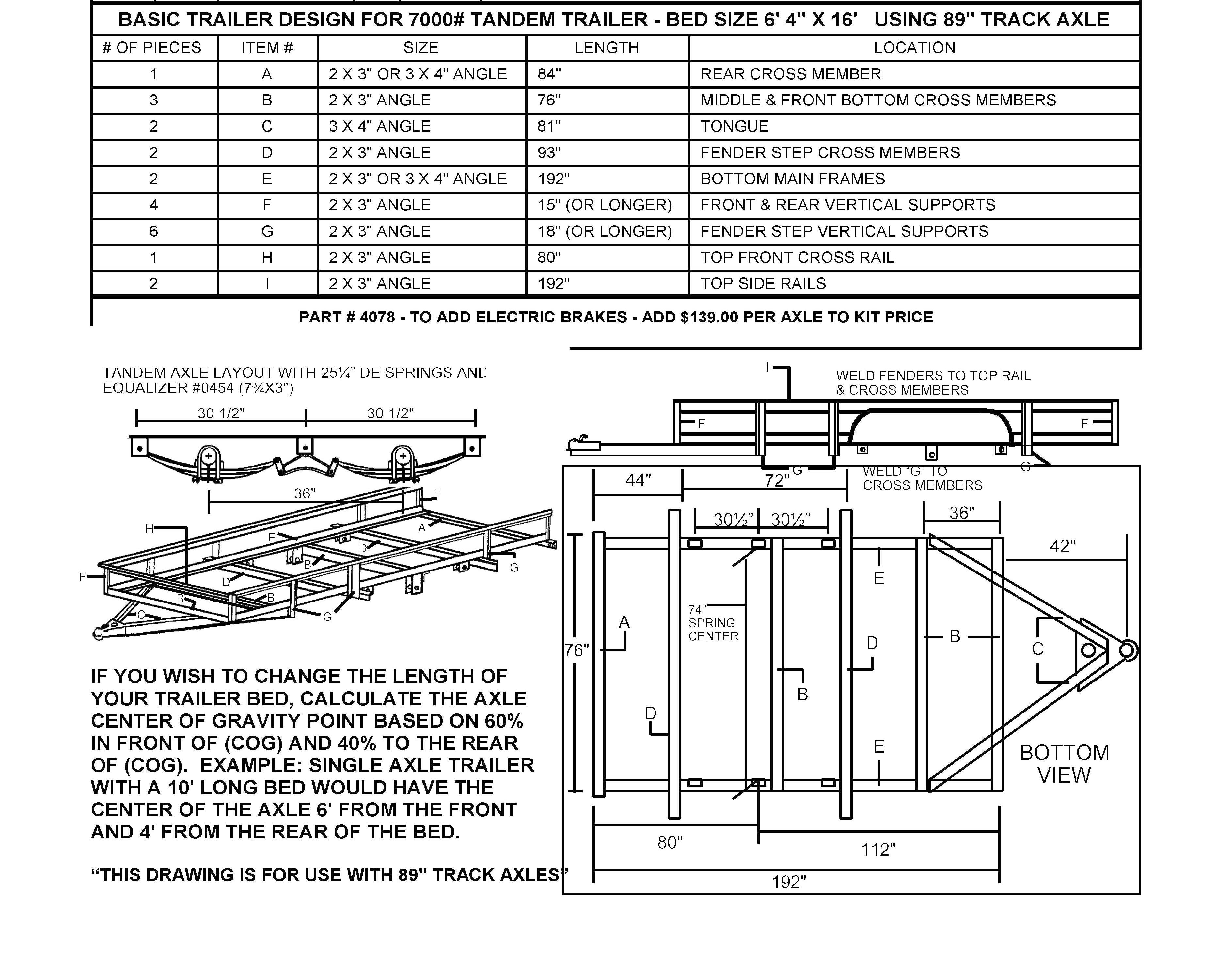 Build Your Own Utility Trailer With Champion Trailers Tandem Schematic Parts Kit Building Diagram