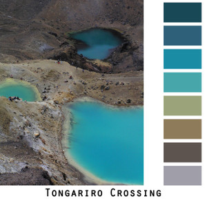 Tongariro Crossing - volcanic turquoise blue pools with brown grey rock formations, colors for blue eyes, green eyes, brown eyes, brunette, redhead, black hair - photo by Inese Iris Liepina, Wrapture by Inese