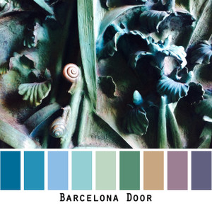 Barcelona Door - teal blue verdigris door in Gaudis Basilica de la Sagrada Familia, colors for blue eyes, green eyes, brown eyes,  brunette, redhead, black hair  - photo by Inese Iris Liepina, Wrapture by Inese