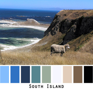 South Island - dusty grey sheep on straw colored cliffs above teal and deep blue seas, colors for blue eyes,  brown eyes, blonde hair, brunette, black hair - photo by Inese Iris Liepina, Wrapture by Inese