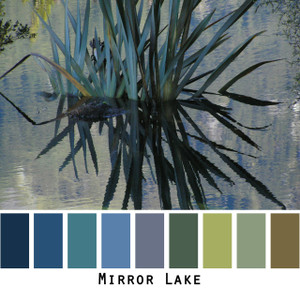 Mirror Lake - blue teal olive green reflections of fronds in a lake in New Zealand colors for blue eyes, green eyes, brown eyes, brunette, redhead, black hair - photo by Inese Iris Liepina, Wrapture by Inese