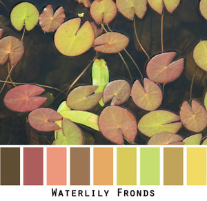 Waterlily Pond - lime green mauve dusty rose and olive chartreuse tan and dark chocolate brown all in a waterlily pond colors for green eyes, brown eyes, brunette, redhead, black hair - photo by Inese Iris Liepina, Wrapture by Inese