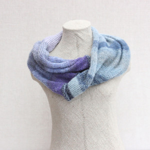 Moonshadow dusk mohair loop scarf Wrapture by Inese Iris Liepina pale blue lavender silver blue navy