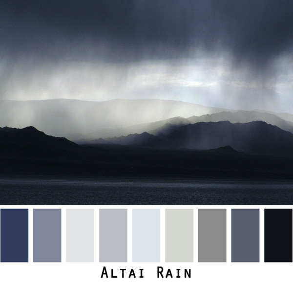 Altai Rain - black grey ombre tones of mountain lake, colors for green brown eyes, blonde hair, brunette, redhead, black hair, gray hair photo by Inese Iris Liepina, Wrapture by Inese