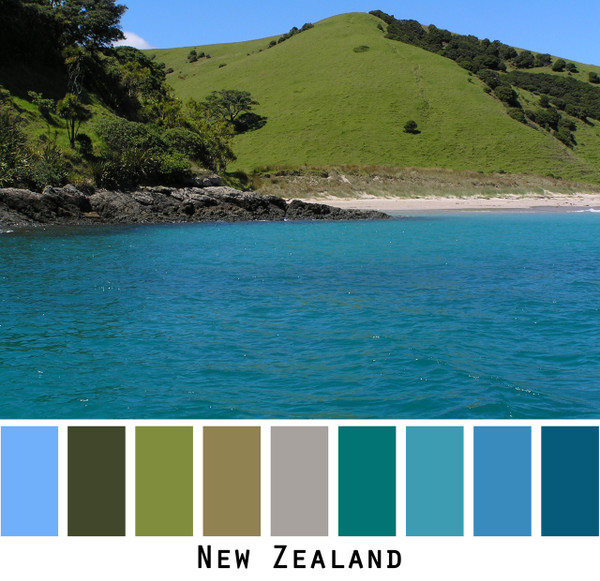 New Zealand - teal blue water with bright green hills and blue sky, colors for green brown eyes, brunette, redhead, black hair, photo by Inese Iris Liepina, Wrapture by Inese