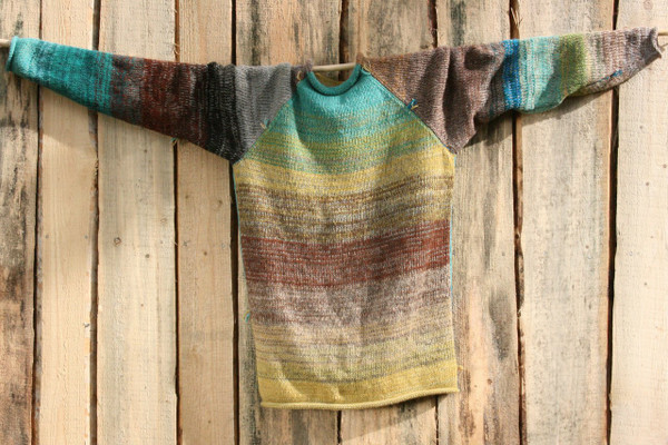 Tongariro Crossing raglan wool mohair cotton pullover sweater by Wrapture by Inese