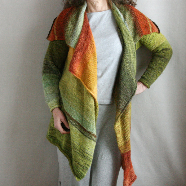 Leaves in Grass Annie Cardigan Coat mohair silk and cotton blend Wrapture by Inese green brown cinnamon paprika sage