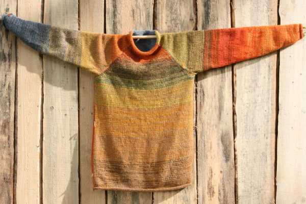 Fall Sky raglan pullover sweater by Wrapture by Inese