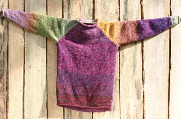Silpurene wool mohair prewashed knit raglan pullover sweater, purple pink golden orange green size M Wrapture by Inese