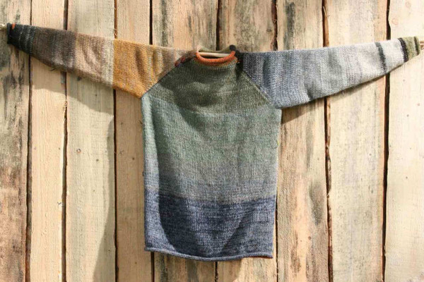 Tanzania Raglan Pullover Sweater size L wool, cotton, kid mohair, silk knit by Wrapture by Inese Unique and one of a kind reversible, pre washed