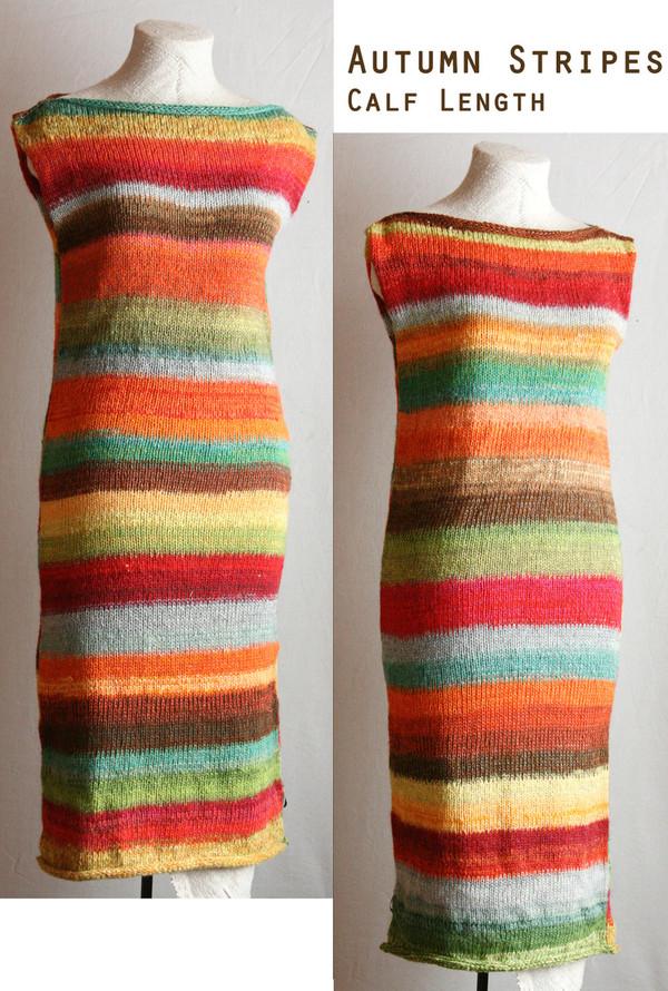 Calf length random striped knit tank dress custom order from Wrapture by Inese Iris Liepina