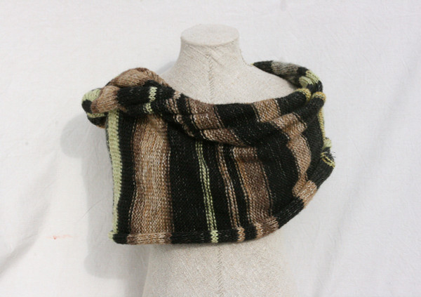 Frozen Pond Lily shawl wrap mohair cotton chunky knit Wrapture by Inese Iris Liepina tan taupe brown silver gray gold black striped
