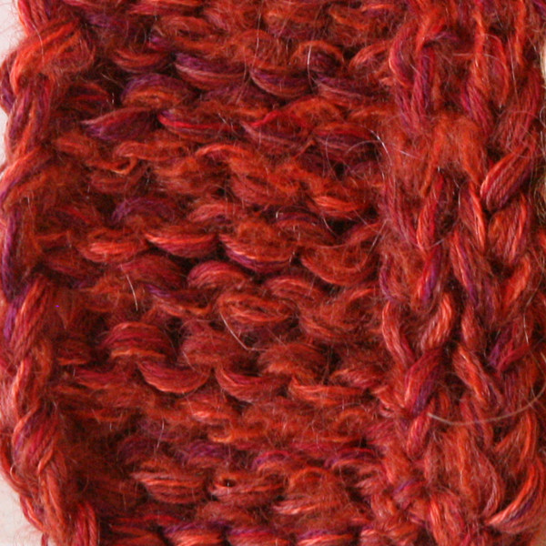 paprika marled shawl wrap mohair cotton chunky knit Wrapture by Inese Iris Liepina