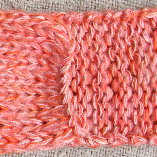 marled shawl wrap mohair cotton chunky knit Wrapture by Inese Iris Liepina coral pink