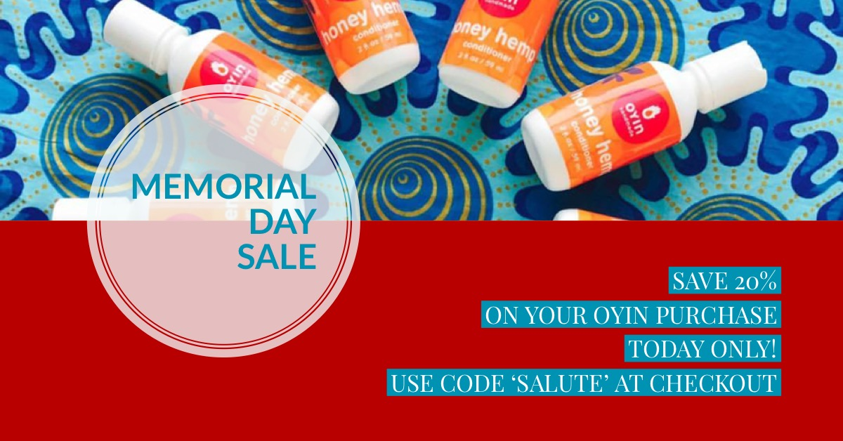 """Happy Memorial Day! Save 20% off your Oyin purchase, today ONLY!  - visit http://oyinhandmade.com and  use code """"Salute"""" at checkout!"""